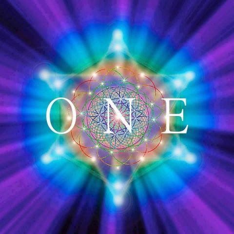 cosmic image of the word 'one'