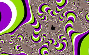 fractal optical illusion image with Buddha shape in centre