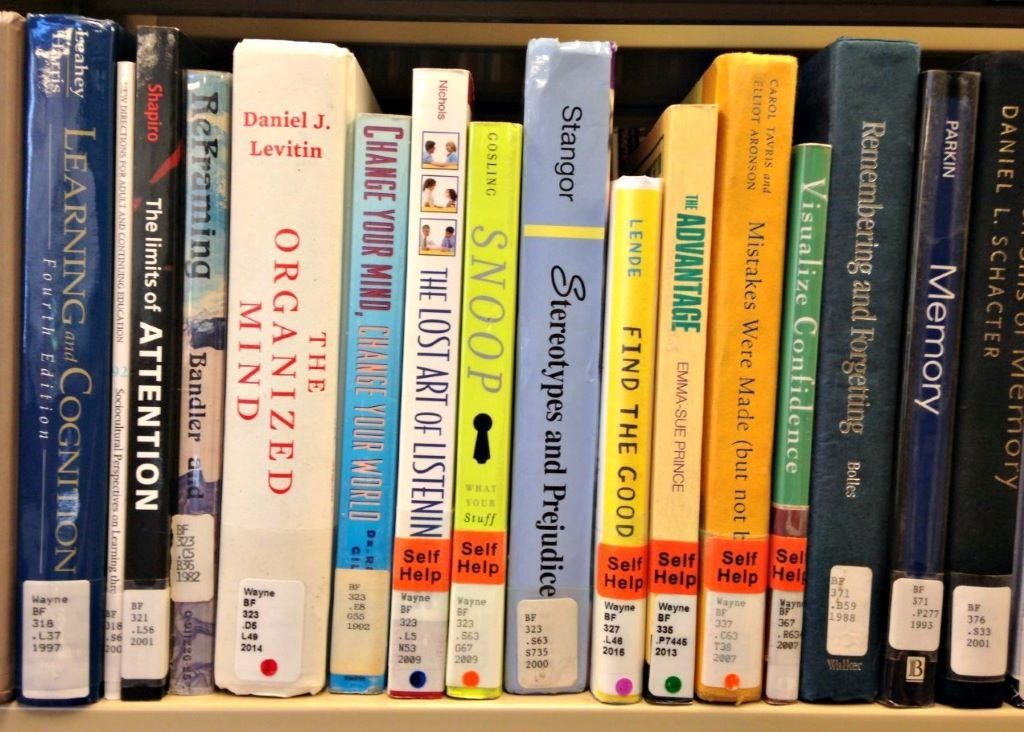 self help books on a shelf
